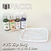 PVC Zip Bag (M) - 11 X 15 X 3cm - 10Pcs