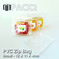 PVC Zip Bag (S) -12 X 11 X 4cm - 10Pcs