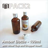 100ml Amber Bottle with Silver Cap and Dropper Insert - 10Pcs