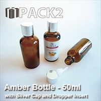 50ml Amber Bottle with Silver Cap and Dropper Insert - 10Pcs