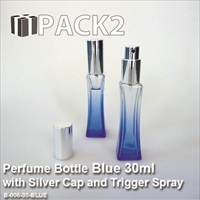 25ml Blue Bottle with Silver Cap and Trigger Spray - 10Pcs