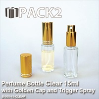 15ml Clear Bottle with Golden Cap and Trigger Spray - 10Pcs