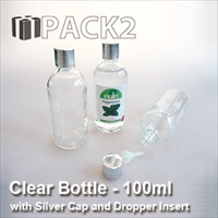 100ml Clear Bottle with Silver Cap and Dropper Insert - 10Pcs