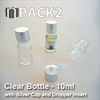 10ml Clear Bottle with Silver Cap and Dropper Insert - 10Pcs