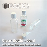 50ml Clear Bottle with Silver Cap and Dropper Insert - 10Pcs