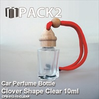 10ml Car Perfume Bottle Clover Shape Clear - 10Pcs