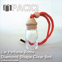 8ml Car Perfume Bottle Diamond Shape Clear - 10Pcs