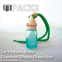 8ml Car Perfume Bottle Diamond Shape Green - 10Pcs