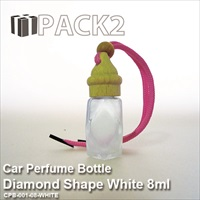 8ml Car Perfume Bottle Diamond Shape White - 10Pcs