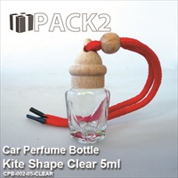 5ml Car Perfume Bottle Kite Shape Clear - 10 Pcs