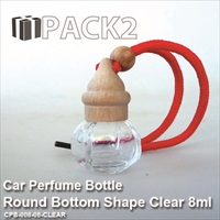 8ml Car Perfume Bottle Round Bottom Shape Clear - 10Pcs