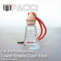 15ml Car Perfume Bottle Tower Shape Clear - 10Pcs