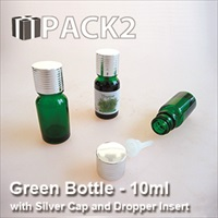 10ml Green Bottle with Silver Cap and Dropper Insert - 10Pcs